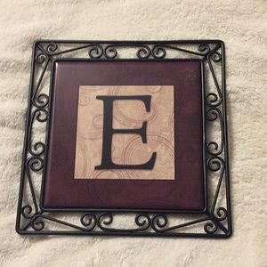 """""""E"""" monogram Hot plate or wall hanging"""